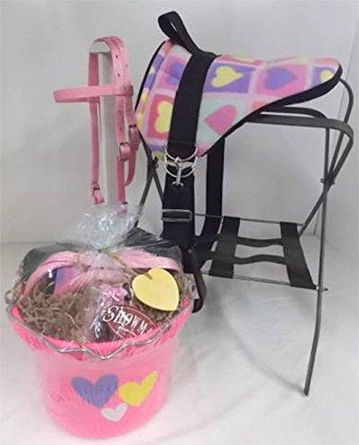 Party Ponies Miniature Horse/Small Pony Bareback Saddle Set - Gift Bucket - Pink Hearts!