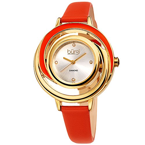 Burgi Leather Women's Watch - Slim Leather Strap - Three Hand Movement with Diamond Markers - Floating Enamel Dial - Round Analog Quartz - Enamel Dial Watch