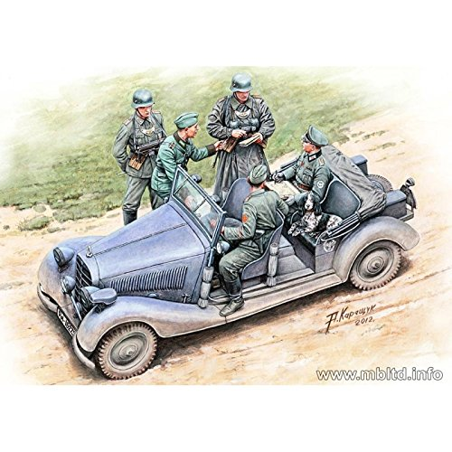 Master Box Where are the Damed Roads? WWII German Military Car (with 5 Figures and Dog) Figure Model Building Kits (1:35 (Military Dioramas)