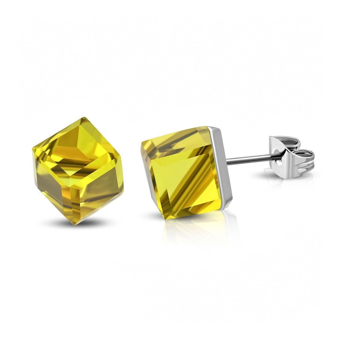 Stainless Steel Stud Earrings with Cube Yellow CZ pair