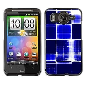 TECHCASE**Cubierta de la caja de protección la piel dura para el ** HTC G10 ** Pattern Checkered Blue White Bright Bling