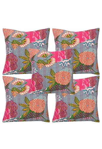 Indian Decorative Kantha Work Vintage Floral Printed Designer Cotton Cushion Cover, 5 Pcs Lot 16x16 Inch.