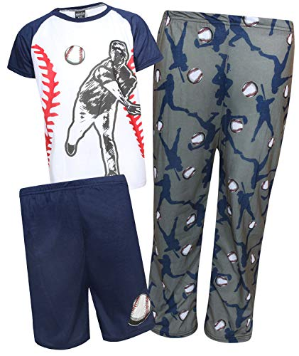 Quad Seven Boys 3-Piece Pajama Set - Shorts, Long Pants, and Graphic T-Shirt, White Baseball, Size 16/18'