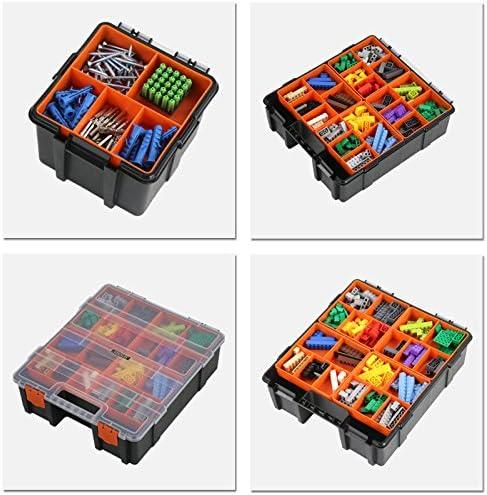 tooltoo herramienta herramienta de almacenamiento y caja de herramientas organizador caso contenedor de almacenamiento, perfecto para guardar herramientas, juguetes y tabletas, color negro y naranja: Amazon.es: Bricolaje y herramientas