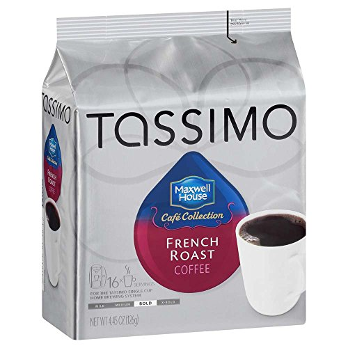 Maxwell House French Roast Coffee, Bold Roast, T-Discs for Tassimo Brewing Machines, 16 Count (Pack of 5) (Maxwell Coffee Roasted)