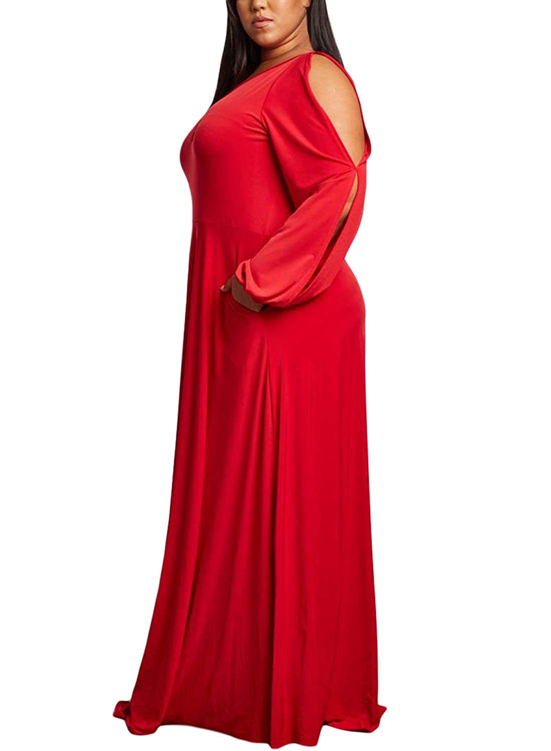 9ce5d877b33 Lalagen Women s Vintage Long Sleeve Plus Size Evening Party Maxi Dress Gown