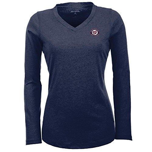 Antigua Washington Nationals Women's Flip Long Sleeve V-Neck T-Shirt Extra Large