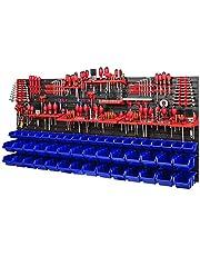 Werkplaatsrek, wandrek, 1728 x 780 mm, opslagsysteem met gereedschapshouders en stapelboxen, wandplaten, extra sterk werkplaatsrek, schudrek