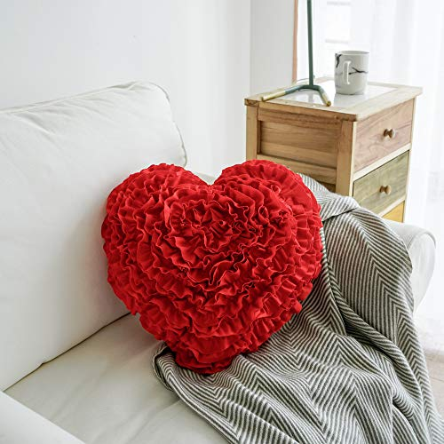 - Mother's Day Throw Pillow Hand Crafted Love Heart Shaped Ruffled Floral Decorative Pillow Gifts for Girl Friend Mom 17