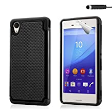 32nd® Shock proof dual defender case cover for Sony Xperia M4 Aqua + screen protector, cleaning cloth and touch stylus - Black