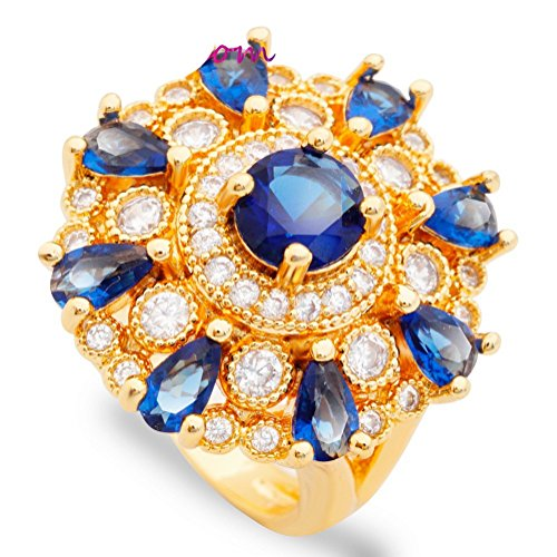 PSRINGS Indian Bride Rings Gold Plated Show Finger Ring Dark Blue Zircon Crystal Jewelry Ladies 9.0