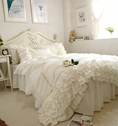 Lotus Karen Jennifer Off-White Girls Bedding Set Shaggy Chic Multi-Ruffle Princess Bed Set with Cute Bow-Knots Cotton Queen Size 4-Piece Bedding (1Duvet Cover/1Bed Skirt/2Pillowcases)