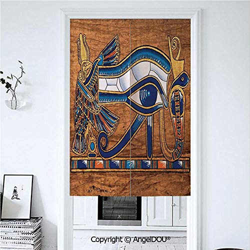 (AngelDOU Egyptian Japanese Noren Hanging Doorway Curtain Egyptian Ancient Art Papyrus Depicting Horus Eye Mosaic Design for Living Room Kitchen Party. 33.5x59 inches)