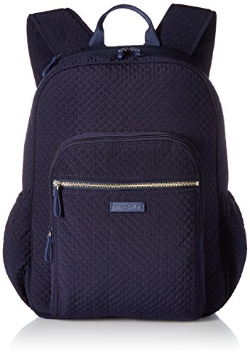 Vera Bradley Iconic Campus Backpack, Microfiber, Classic Navy (Campus Laptop Backpack)
