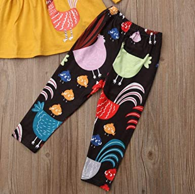 Toddler Baby Girls Thanksgiving Outfit Clothes Turkey Print Tops+Long Pants+Scarf 3PCS Set