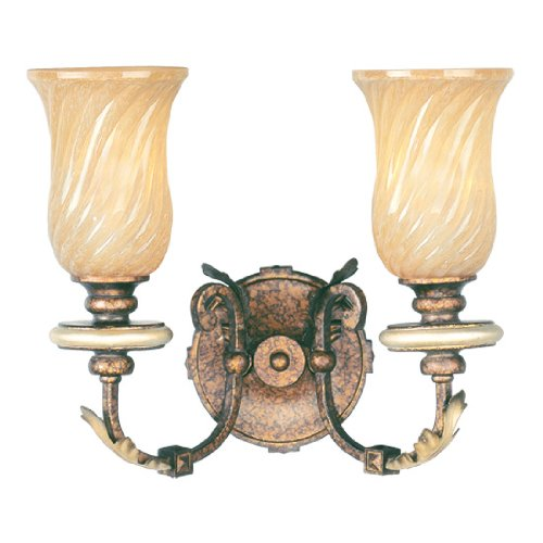Livex Lighting 8872-64 Bath Vanity with Gold Dusted Sculpted Art Glass Shades, Palatial Bronze with Gilded Accents