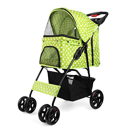 Flexzion Pet Stroller Dog Cat Small Animals Carrier Cage 4 Wheels Folding Flexible Easy Walk for Jogger Jogging Travel Up to 30 Pounds With Rain Cover Cup Holder and Mesh Window - Dot Green