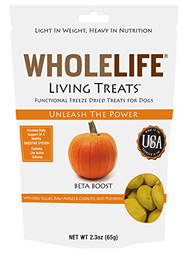 Whole Life Pet Living Treats for Dogs-Digestive Support with Yogurt and Pumpkin, 2.3-Ounce