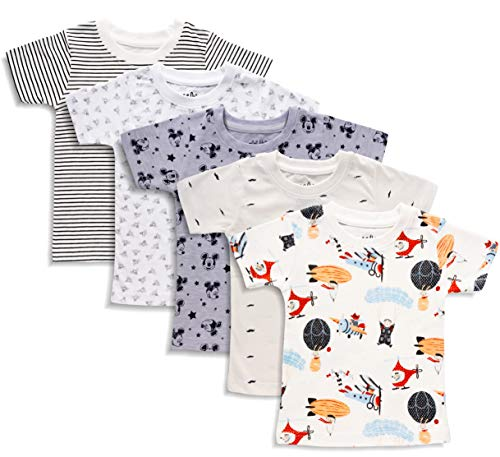minicult Cotton Half Sleeves Tshirt for Boys and Girls (Multicolor) (Pack of 5)(1 to 2Years)