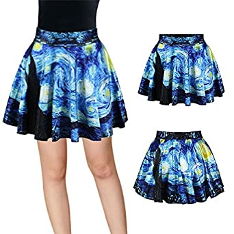 Hrph Fashion Women Retro Vintage Digital Print Starry Night Jake Skater  Skirt: Amazon.co.uk: Clothing