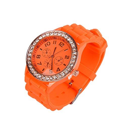 (OFTEN Ladies Women Girl Silicone Quartz Crystal Stone Jelly Wrist Watch)
