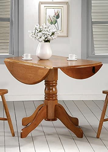 Home Source Winslow Collection Asian Hardwood Round Drop Leaf Table Spice