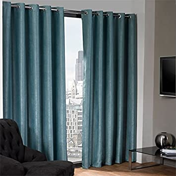 Logan duck egg blue eyelet ring top thermal blackout curtains ...