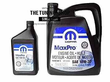 Mopar Mineral Aceite de motor sae 10 W-30 MaxPro 5L + 0.946l para Chrysler: Amazon.es: Coche y moto