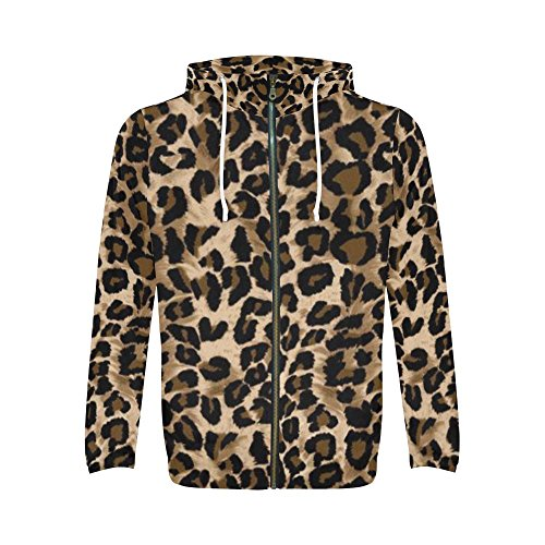 InterestPrint Men's Sweatshirt Cheetah All Over Print Full Zip Hoodie (Cheetah Print Hoodie)