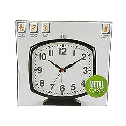 Ashton Sutton Metal Soft Contemporary Alarm Clock with Back Light Black HOC928A