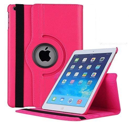 Eleqzun 360 Degree Rotate Synthetic Leather Flip Cover for iPad Mini 1 2 3  Pink