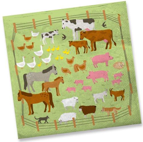 Bauernhof f/ür Kindergeburtstag //// Mottoparty Kinder Geburtstag Party Tiere Farm Kinderparty Farm Napkin Papierservietten 20 Servietten