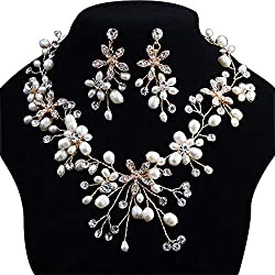 Pearl Necklace with Earrings Bridal Set