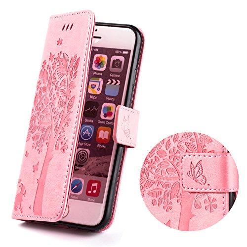 Cover Custodia per iPhone 6s iPhone 6 ZPTONE PU Portafoglio Custodia Cover Protettiva in Pelle Libro per iPhone 6 6s Chiusura Magnetica Stand Case Sbalzato Albero - Rosa