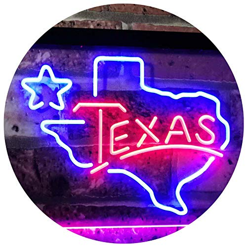 (ADVPRO Texas Lone Star Dual Color LED Neon Sign Blue & Red 16