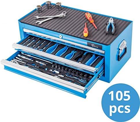 Ragnor caja de herramientas completa de 3 cajones 105-piezas - azul: Amazon.es: Bricolaje y herramientas