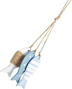 IMIKEYA Nautical Wooden Fish Wall Hanging Ornaments Wood Fish Decoration Ocean Fish String Cutout Pendant Wooden Wall Ornaments for Home Nursery Kindergarten Wall Decor Crafts Gift