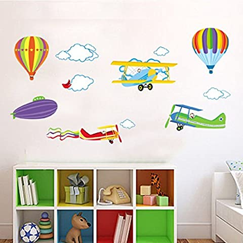 Hot Air Balloons Cloud Watermelon Planes Bird Wall Decal PVC Home Sticker House Vinyl Paper Decoration WallPaper Living Room Bedroom Art Picture DIY Murals Girls Boys kids Nursery Baby Playroom (Hot Pictures For Bedroom)
