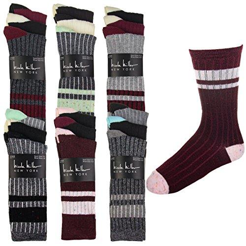 18 Pairs Nicole Miller New York Womens Striped Casual Crew DressSocksLadies Stripes Pack Shoe Size 4-10