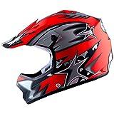 WOW Youth Kids Motocross BMX MX ATV Dirt Bike Helmet Star Matt Red