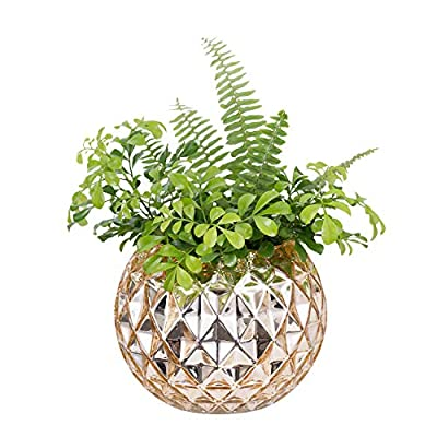 """Diamond Star Decorative Glass Vase Mercury Bowl Vases Gold Table Vase Diamond Pattern Flower Vase for Home Wedding Party Centerpiece(Small) - Hand-brown glassware.(Plants not included) Size: Top Diameter: 3.9""""/10cm. Height: 5.4""""/13.7cm. Weight: 898G. Fashionable Gold Color, Exquisite Diamond Pattern & Gold-plated Process. - vases, kitchen-dining-room-decor, kitchen-dining-room - 51iY82oimdL. SS400  -"""