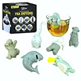 Tea Infuser, The Cute Loose Leaf Silicone Tea Filter Set of 7 Pack Strainer Steeper with Gift Box by Tilevo - Includes Man & Animal Monkey Shark Elephant Manatee Platypus and Sloth