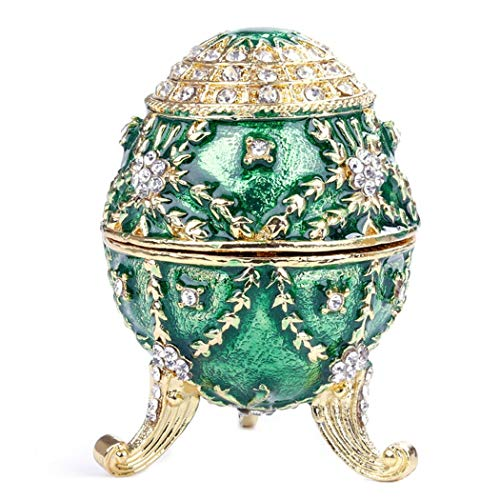 HAOCHIDIAN Jewelry Organizer Portable Hand Painted Enameled Faberge Egg Sculpted Figure Vintage Style Decorative Hinged Metallic Jewelry Trinket Box from HAOCHIDIAN