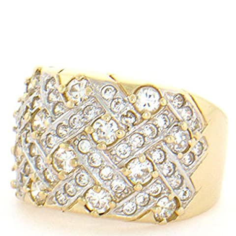10k Solid Yellow Gold Cluster Cocktail Band Ring - 10k Gold Cluster Ring