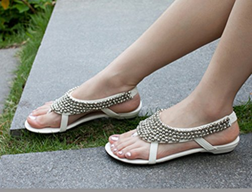 Crc Dames Romeinse Stijl Lage Hak Open Teen Casual Comfortabele Kunstleren Flip-flop Sandalen Wit