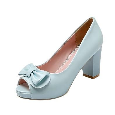 8bd0b868939 Latasa Women s Cute Bow Solid Color Peep-Toe Platform Chunky High Heel Dress  Casual Pumps