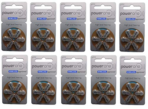 Power One Hearing Aid Battery, 60 Cells – Pack of 10