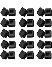 """1"""" Square Tubing Plug End Caps, 30 Pack Tubing Post End Cap, 25mm x 25mm Black Plastic Square Plugs, Chair Glide Floor Protector"""