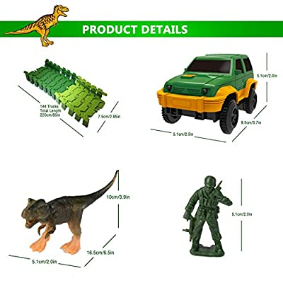 Dinosaur Race Track Toys 144 Flexible Tracks Playset Toy Slot Car Hanging Bridge Dinosaurs Soldier Toys ect. Jurassic Dinosaurs World Theme Toy for 3 4 5 6 7 Year Boys Gifts: Toys & Games