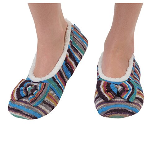 Snoozies Women's Lightweight Wavy Stripe Boho with Bow Slipper Socks (Small, Blue and Purple 6)
